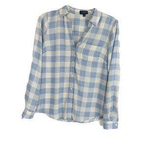 The Limited Plaid Ashton Blouse Blue White V Neck
